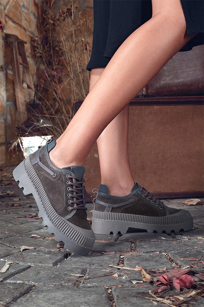 Gri Kadın Deri Sneaker 5638330541