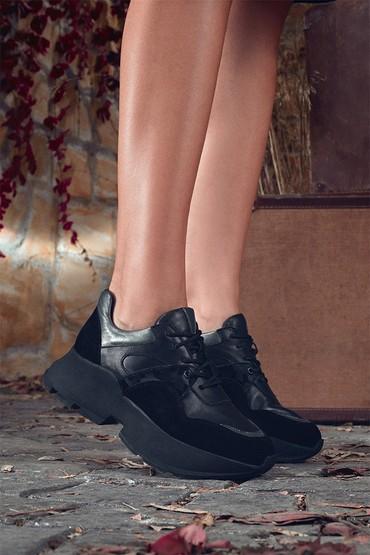 Siyah Kadın Deri  Süet Deyatlı Sneaker 5638330572
