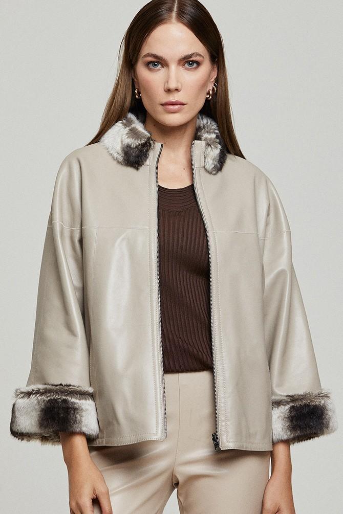 Beyaz Della Kadın Deri Çift Taraflı Ceket 5638156239