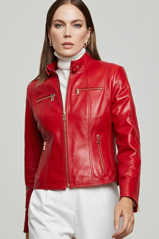 Kırmızı Alexa Kadın Deri Ceket 5638299697