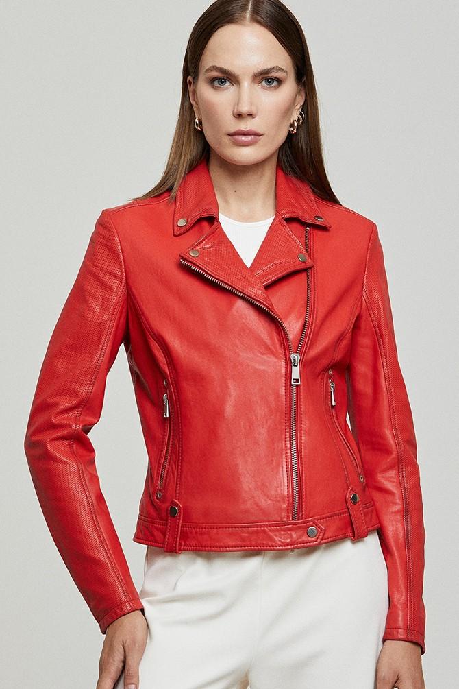 Kırmızı Gına Kadın Deri Ceket 5638305876