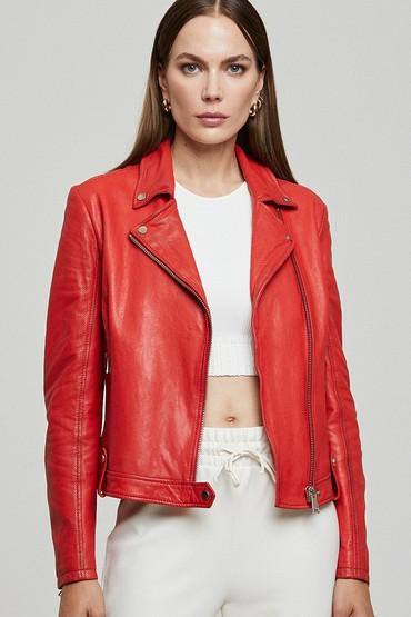 Kırmızı Gına Kadın Deri Ceket 5638305864