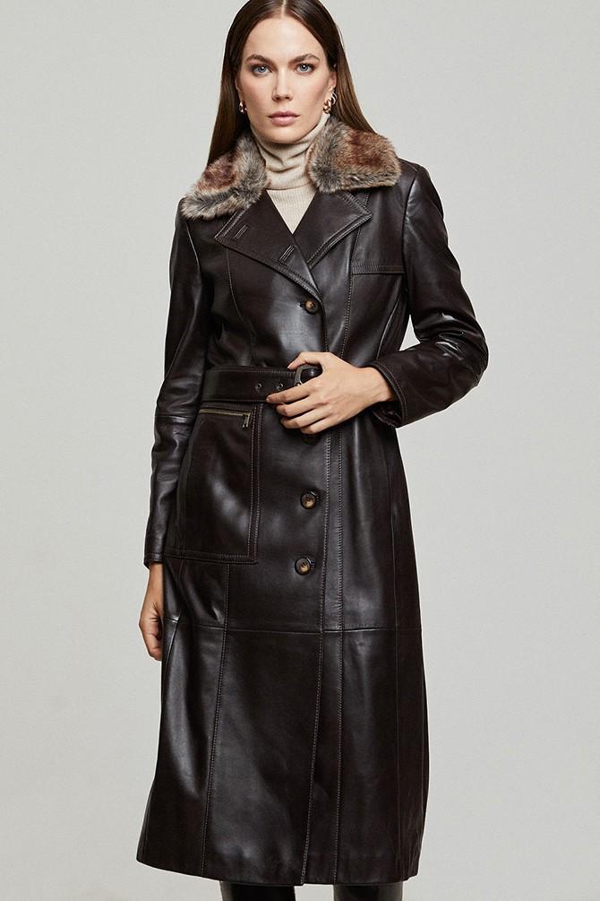 Kahverengi Modena Kadın Deri Ceket 5638352461