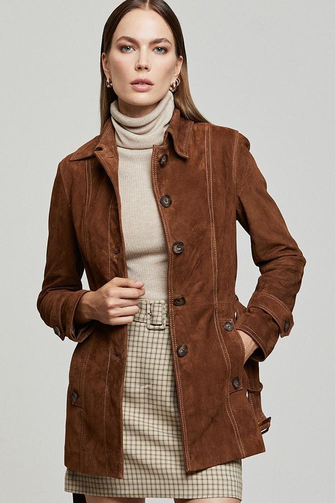 Kahverengi Rosabel Kadın Deri Süet Ceket 5638352092