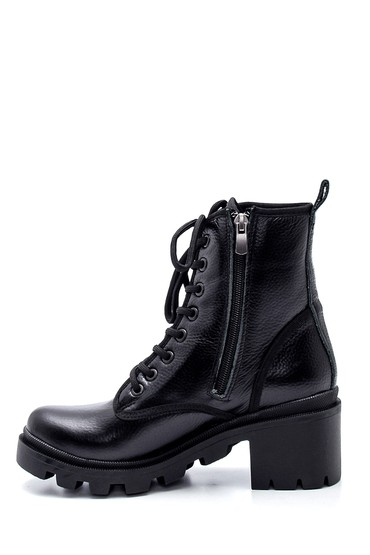 Siyah Kadın Orta Topuklu Deri Bot 5638216961