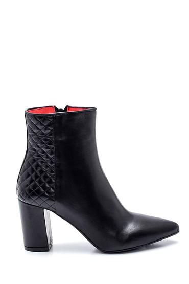 Siyah Kadın Deri Kroko Detaylı Topuklu Bot 5638329992