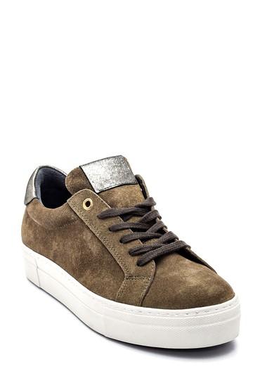 Haki Kadın Deri Süet Sneaker 5638335734