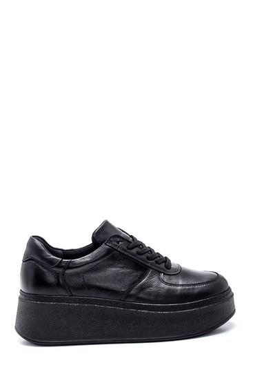 Siyah Kadın Deri Kalın Tabanlı Ayakkabı 5638335785