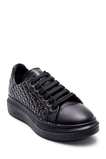 Siyah Kadın Deri Sneaker 5638346077