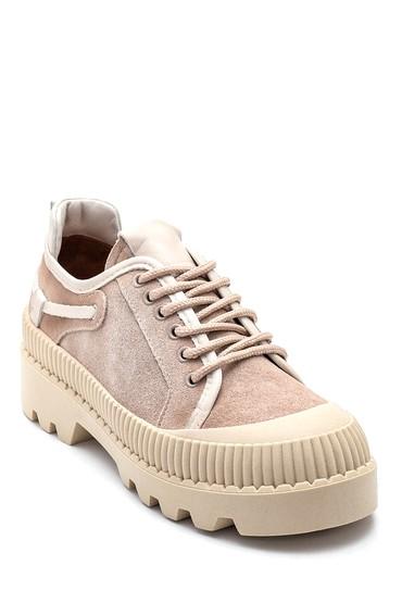 Bej Kadın Deri Kalın Tabanlı Ayakkabı 5638330539