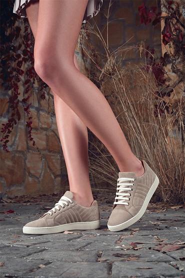 Gri Kadın Deri Süet Sneaker 5638344588