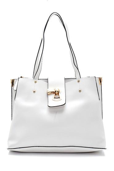 Beyaz Kadın Klasik Omuz Çantası 5638270317