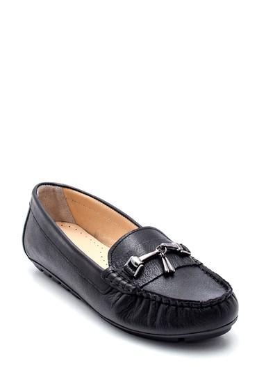 Siyah Kadın Deri Tokalı Loafer 5638330856