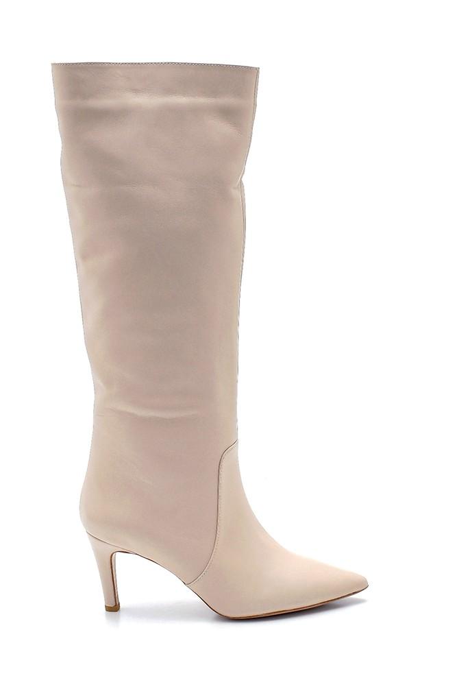 Bej Kadın Deri İnce Topuklu Çizme 5638202790