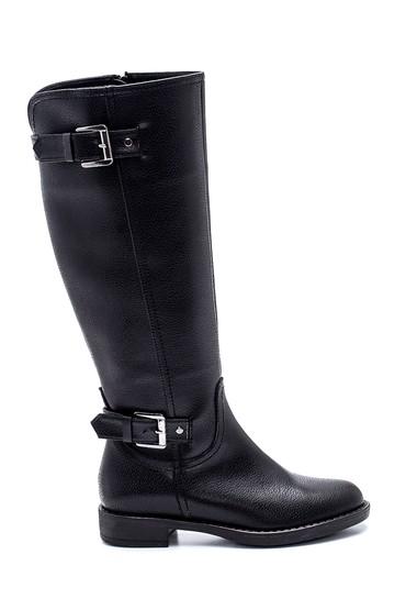 Siyah Kadın Fermuar Detaylı Tokalı Çizme 5638304246