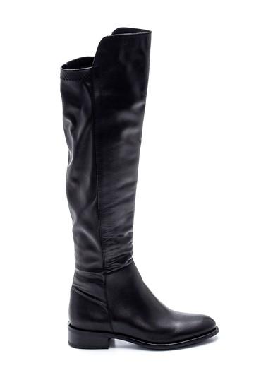 Siyah Kadın Deri Fermuarlı Çizme 5638335617