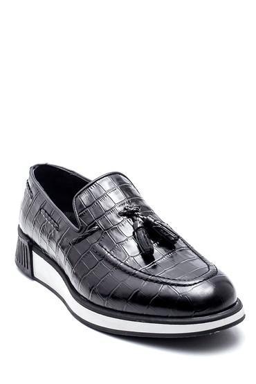 Siyah Erkek Deri Kroko Loafer 5638341015