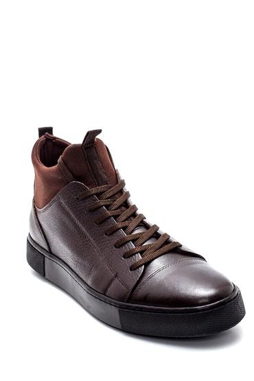Kahverengi Erkek Deri Boğazlı Sneaker 5638313470