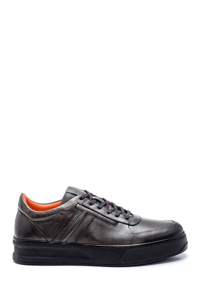 Gri Erkek Deri Sneaker 5638320186