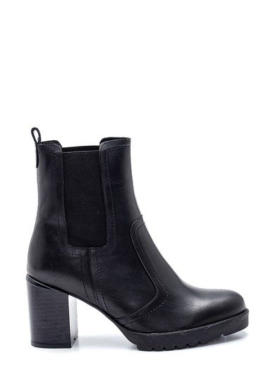 Siyah Kadın Deri Lastikli Topuklu Bot 5638335893