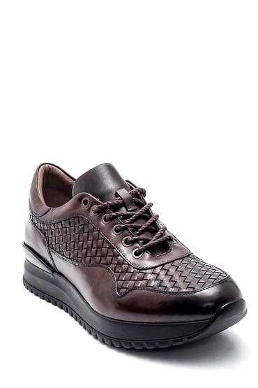 Kahverengi Erkek Deri Örgülü Sneaker 5638338046