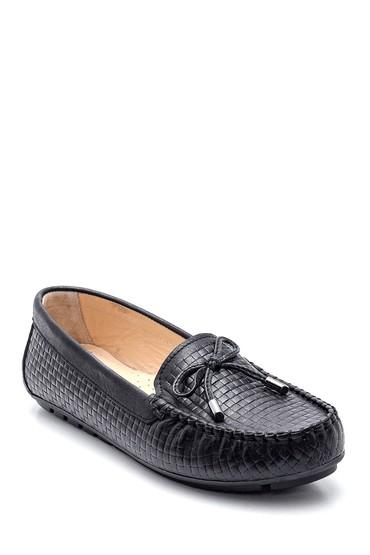 Siyah Kadın Deri Kroko Loafer 5638351327