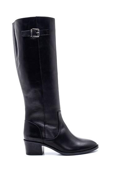 Siyah Kadın Deri Topuklu Çizme 5638213565