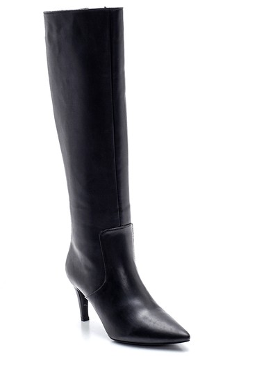 Siyah Kadın Fermuarlı Topuklu Çizme 5638243498