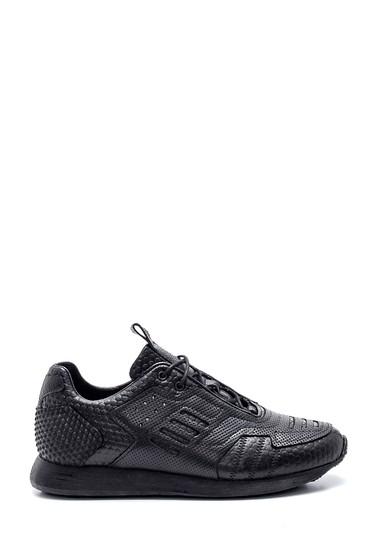 Siyah Erkek Deri Desenli Ayakkabı 5638331531