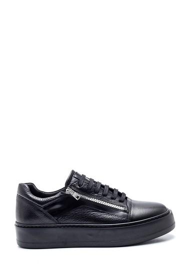 Siyah Erkek Deri Fermuarlı Sneaker 5638337055