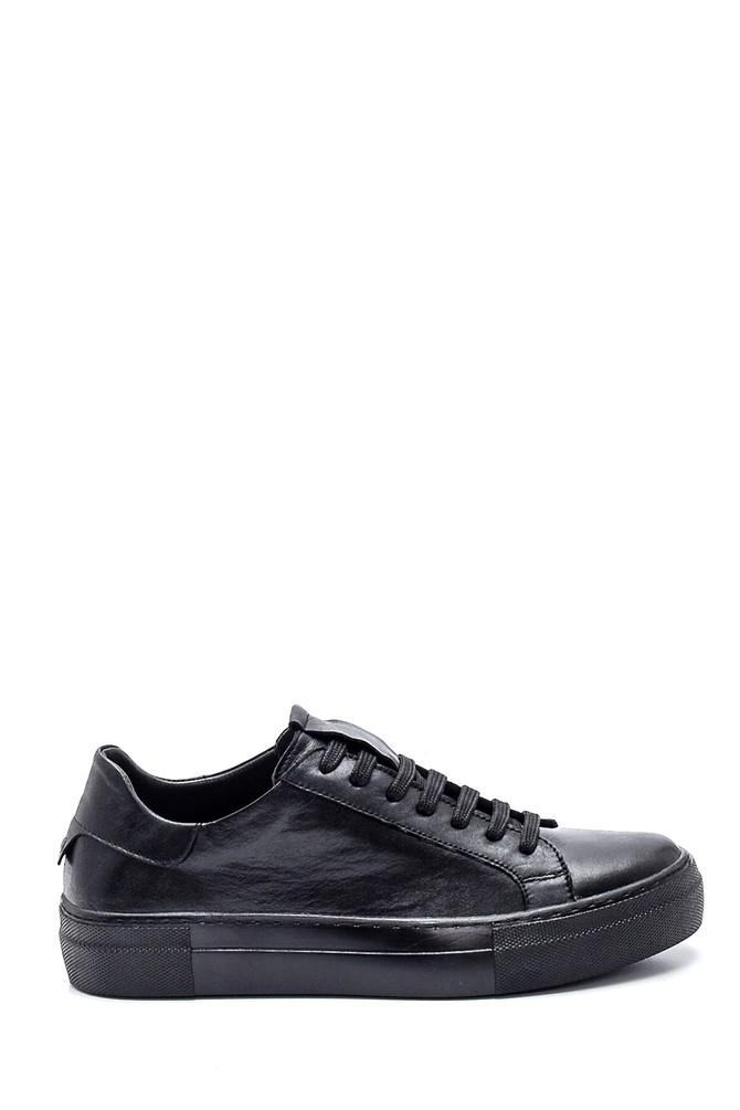 Siyah Kadın Deri Sneaker 5638349260