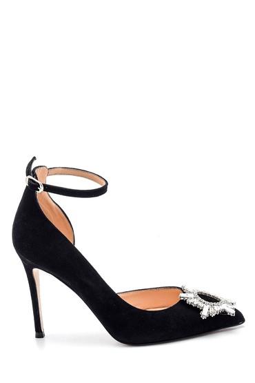 Siyah Kadın Tokalı Süet Topuklu Ayakkabı 5638352848