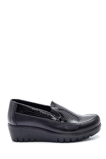 Siyah Kadın Deri Yılan Desenli Ayakkabı 5638306121
