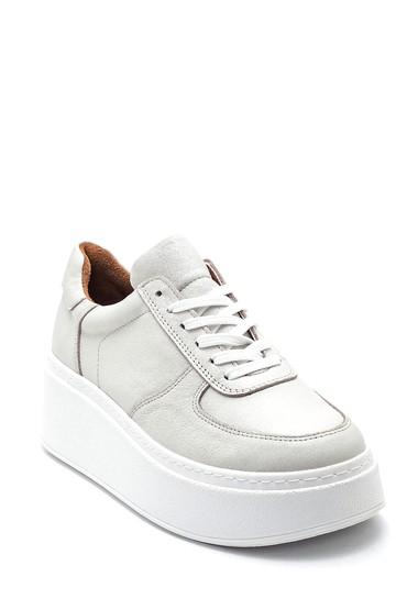 Beyaz Kadın Deri Kalın Tabanlı Ayakkabı 5638336842