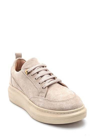 Bej Kadın Deri Süet Sneaker 5638346097