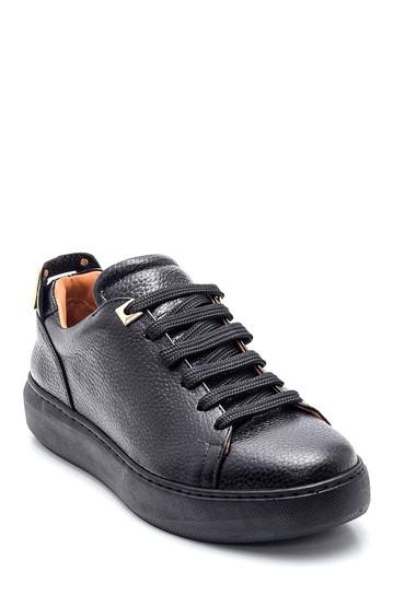 Siyah Kadın Deri Baskılı Sneaker 5638350582