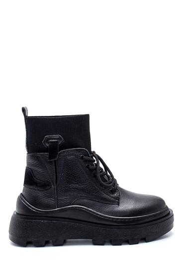 Siyah Kadın Deri Çoraplı Bot 5638343570