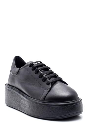 Siyah Kadın Deri Yüksek Taban Sneaker 5638346292