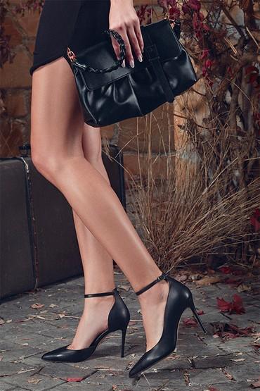 Siyah Kadın Deri Topuklu Ayakkabı 5638352866