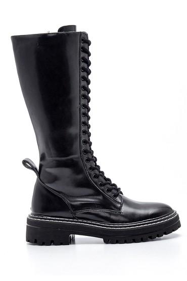Siyah Kadın Klasik Bağcıklı Çizme 5638209160