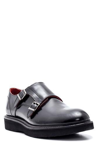 Siyah Erkek Deri Casual Çift Tokalı Ayakkabı 5638314427