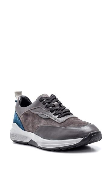 Gri Erkek Süet Detaylı Sneaker 5638317661