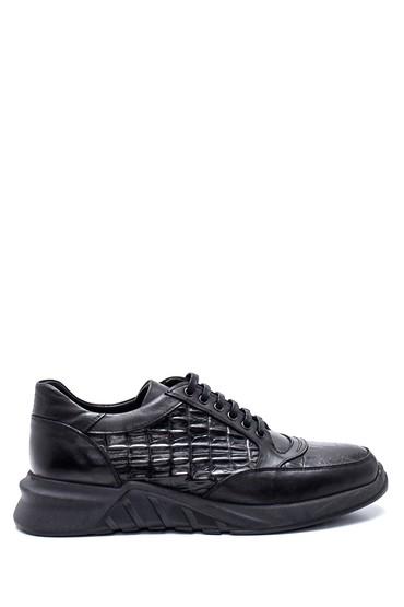 Siyah Erkek Deri Kroko Sneaker 5638332107