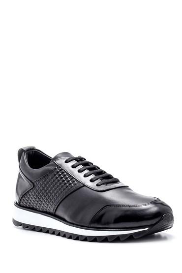 Siyah Erkek Deri Desenli Sneaker 5638332804