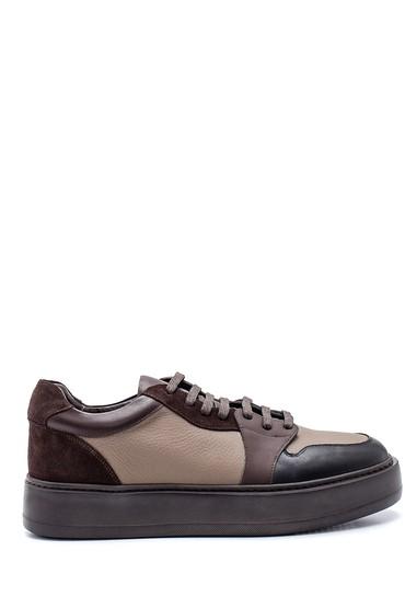 Kahverengi Erkek Deri Süet Detaylı Sneaker 5638337894