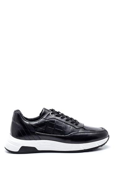 Siyah Erkek Deri Kroko Sneaker 5638337959