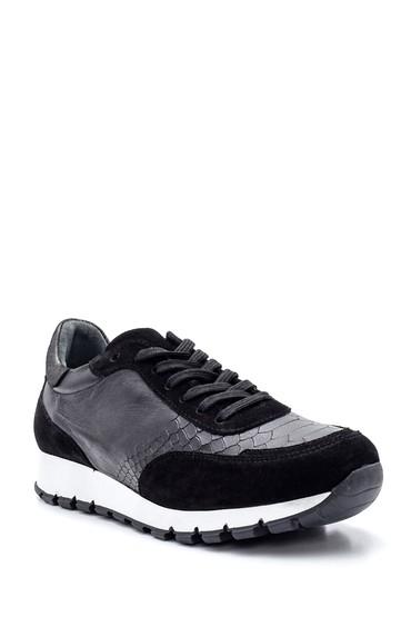 Siyah Kadın Deri Desenli Sneaker 5638335849
