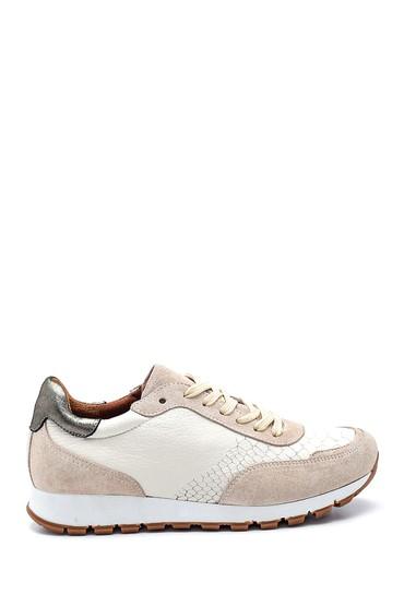Beyaz Kadın Deri Desenli Sneaker 5638336877