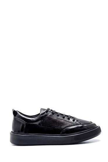 Siyah Kadın Deri Yılan Desenli Sneaker 5638346298