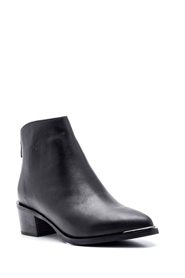 Siyah Kadın Deri Klasik Orta Topuk Bot 5638335603